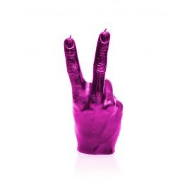 Prachtig roze hoog glans gelakte Hand Peace figuurkaars