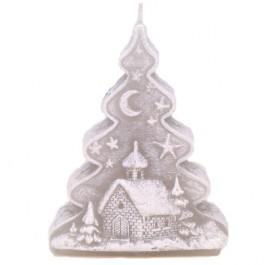 Grijze Kerstboom Figuurkaars 125/90/50
