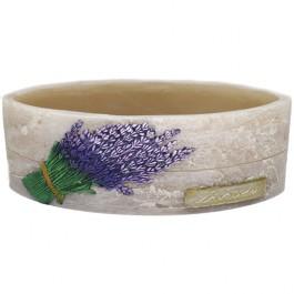 Beige lavendel provence ovale wax windlicht 95/270/125 (incl. 2 stuks 3 uurs theelichten)