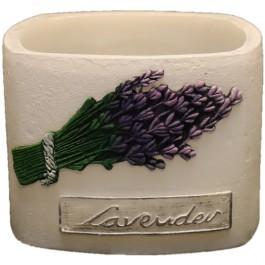 Witte lavendel provence vierkante wax windlicht 95/130/130 (incl. 1 stuk 3 uurs theelicht)