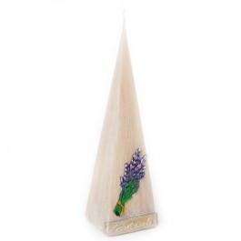 Beige lavendel provence piramide kaars 230/65/65 (24 uur)