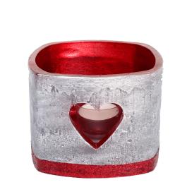 Rode en zilveren hart vierkante windlicht (incl. 3 uur theelicht)