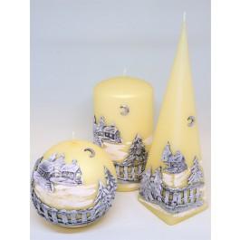 Set ivoor Winter Panorama kaarsen