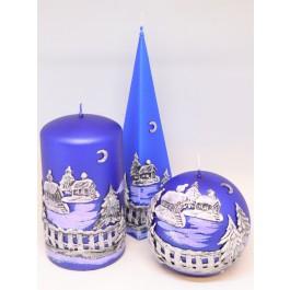 Set blauwe Winter Panorama kaarsen