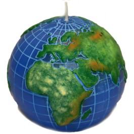 Kleurrijk blauw wereldbol - globe balkaars 90/100 (50 uur)