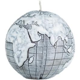 Grijs wereldbol - globe balkaars 90/100 (50 uur)
