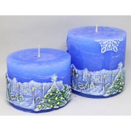 Set blauw Winterlandschap rustieke kaarsen