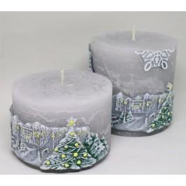 Set grijze Winterlandschap rustieke kaarsen
