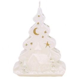 Witte en Gouden Kerstboom Figuurkaars 125/90/50