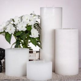 Witte 3 lonten Rustiek Kaarsen in verschillende maten | Smulders Deco