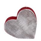 Rode en zilveren hart kaars 135/135/40
