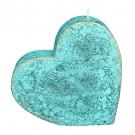 Turquoise loft rustiek hart kaars 135/135/40