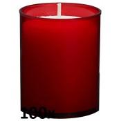100 stuks Bolsius relight kaars in rood kunststof kaarsenhouder, voordeel verpakking