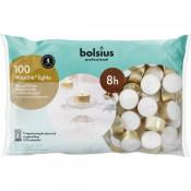 100 stuks Bolsius professional witte 8-uurs waxinelichtjes met goudkleurige cups in Horeca zak