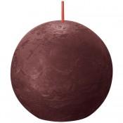 Bolsius wijnrood rustiek bolkaars Ø 76 mm (25 uur) Eco Shine Velvet Red