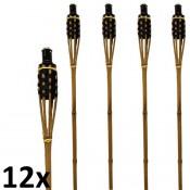 12 stuks zwart met bruine bamboe fakkels lengte 120 cm