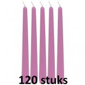 120 stuks roze dinerkaarsen 245/23 als voordeel verpakking