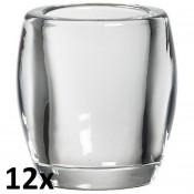 12 stuks oval glas refill en theelichthouders
