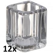 12 stuks square glas houders Bolsius relight