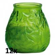 12x lowboy lime groen, de sfeervolle buiten- en binnen kaarsen in sierlijk doorzichtig sfeerglas
