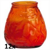 12x Lowboy oranje, de sfeervolle buiten- en binnen kaarsen in sierlijk doorzichtig sfeerglas