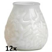 12x lowboy wit transparant, de sfeervolle buiten- en binnen kaarsen in sierlijk doorzichtig sfeerglas