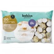 150 stuks Bolsius professional witte 6-uurs waxinelichtjes met goudkleurige cups in Horeca zak