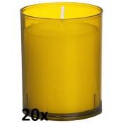 20 stuks Bolsius relight kaars in amber kunststof kaarsenhouder, voordeel verpakking