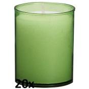20 stuks Bolsius relight kaars in lime groen kunststof kaarsenhouder, voordeel verpakking