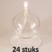 24 olielampen als voordeelverpakking met duurzame glasvezel lonten