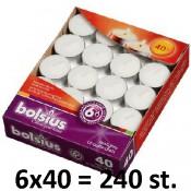 240 stuks witte 6 uur waxinelichtjes 21/38 Bolsius ( 6 dozen met 40 stuks )