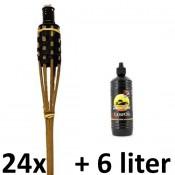 24 stuks tuinfakkels bruin zwart 120cm met olie