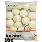 16 zakken met 20 stuks ivoor 4,5 uur drijflichtjes 20/45 Bolsius, voordeel verpakking