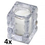 4 glazen Bolsius cube light houders inclusief relightkaars