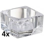 4 stuks maxi theelichthouders van glas