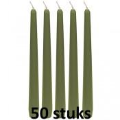 50 stuks sage groene dinerkaarsen 245/23 als voordeel verpakking