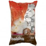 50 stuks witte 8 uur waxinelichtjes 24/38 Bolsius