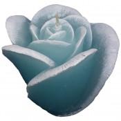 Blauwe roos figuurkaars met linnengoed geur