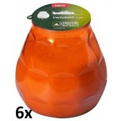6 stuks oranje twilights lowboys van Bolsius in voordeel verpakking
