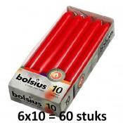 60 stuks Bolsius rood dinerkaarsen 230/20