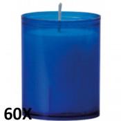 60 stuks refill kaarsen in blauw transparant kunststof kaarsenhouders, voordeel verpakking