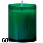 60 stuks refill kaarsen in donkergroen transparant kunststof kaarsenhouders, voordeel verpakking