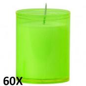 60 stuks refill kaarsen in lime groen transparant kunststof kaarsenhouders, voordeel verpakking