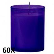60 stuks qlights refill kaarsen in paars transparant kunststof kaarsenhouders, voordeel verpakking