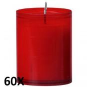 60 stuks refill kaarsen in rood transparant kunststof kaarsenhouders, voordeel verpakking