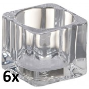 6 stuks theelichthouders van dik glas