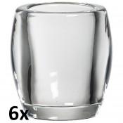6 stuks glazen Bolsius oval houders 100/84