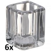 6 stuks Bolsius square glazenhouders voor relights en theelichtjes