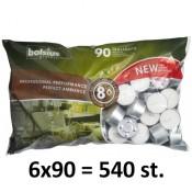 540 stuks witte 8 uur waxinelichtjes 24/38 Bolsius ( 6 zakken met 90 stuks )