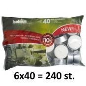 240 stuks witte 10 uur maxi waxinelichten 24/58 Bolsius ( 6 zakken met 40 stuks )